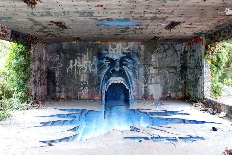 Arte urbano - Boca en pared