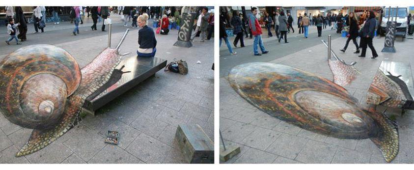 Arte urbano - Caracol en 3D