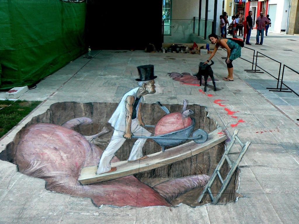 Arte urbano - Dibujo en la acera