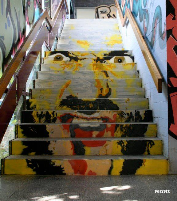 Arte urbano - Escalera con dibujo