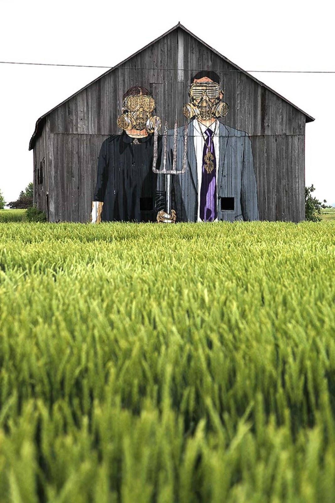 arte urbano granjeros mascaras de gas