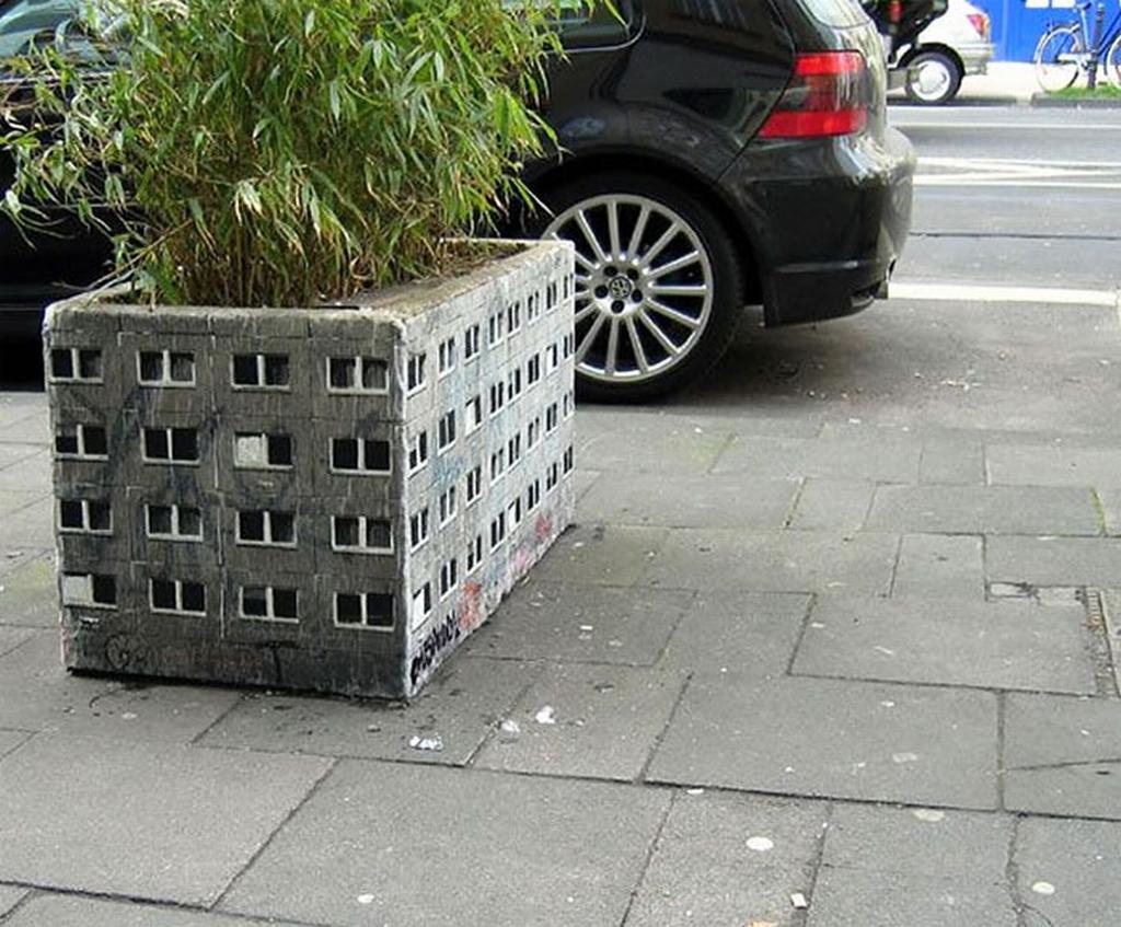arte urbano - macetero edificio