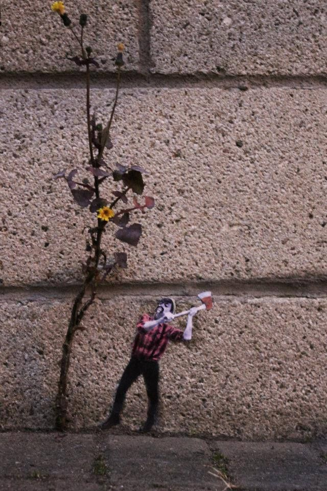 arte urbano planta leñador