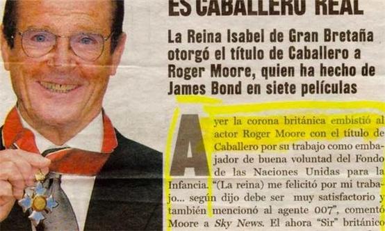 La Corona Británica embiste al actor Roger Moore