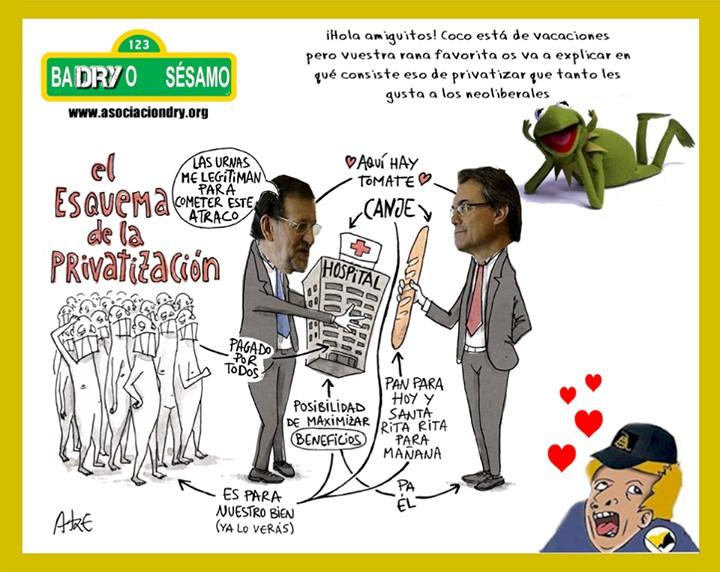 Rajoy y Mas - El esquema de la privatización