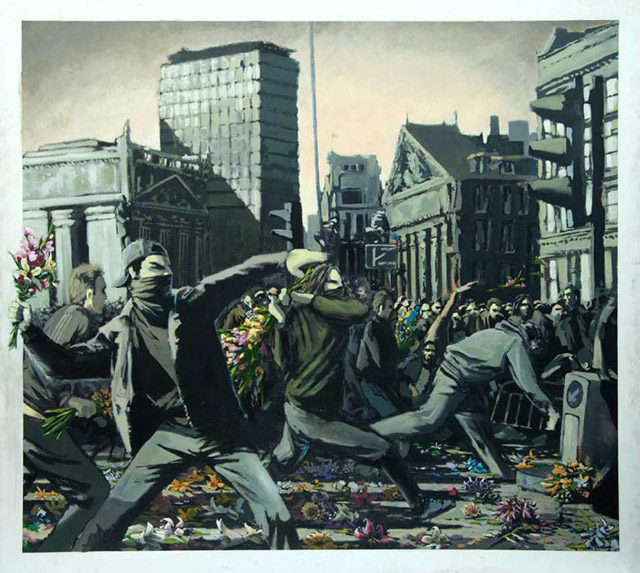 Banksy - Flores contra los antidisturbios