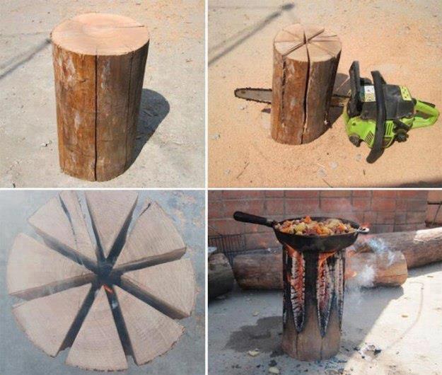 Barbacoa con tronco