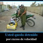 Bebé detenido por exceso de velocidad