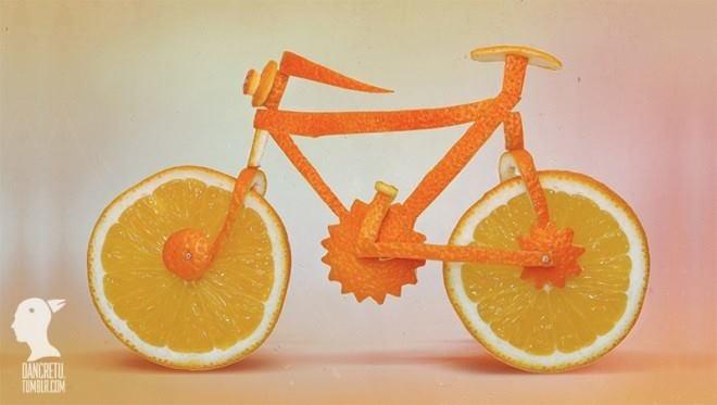 Bicicleta de naranja