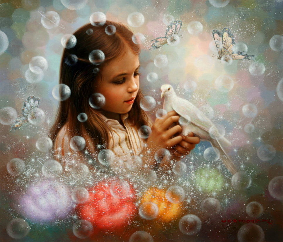 burbujas-nina-paloma-y-mariposas-Yoo-Choong-Yeul