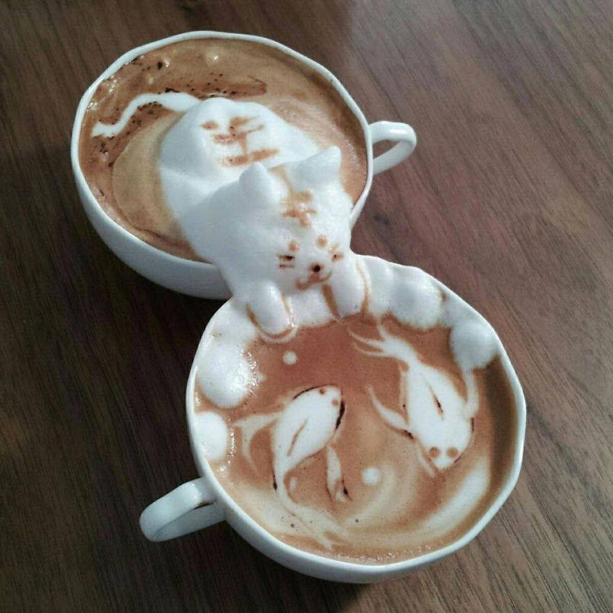 cafe dibujo gato peces