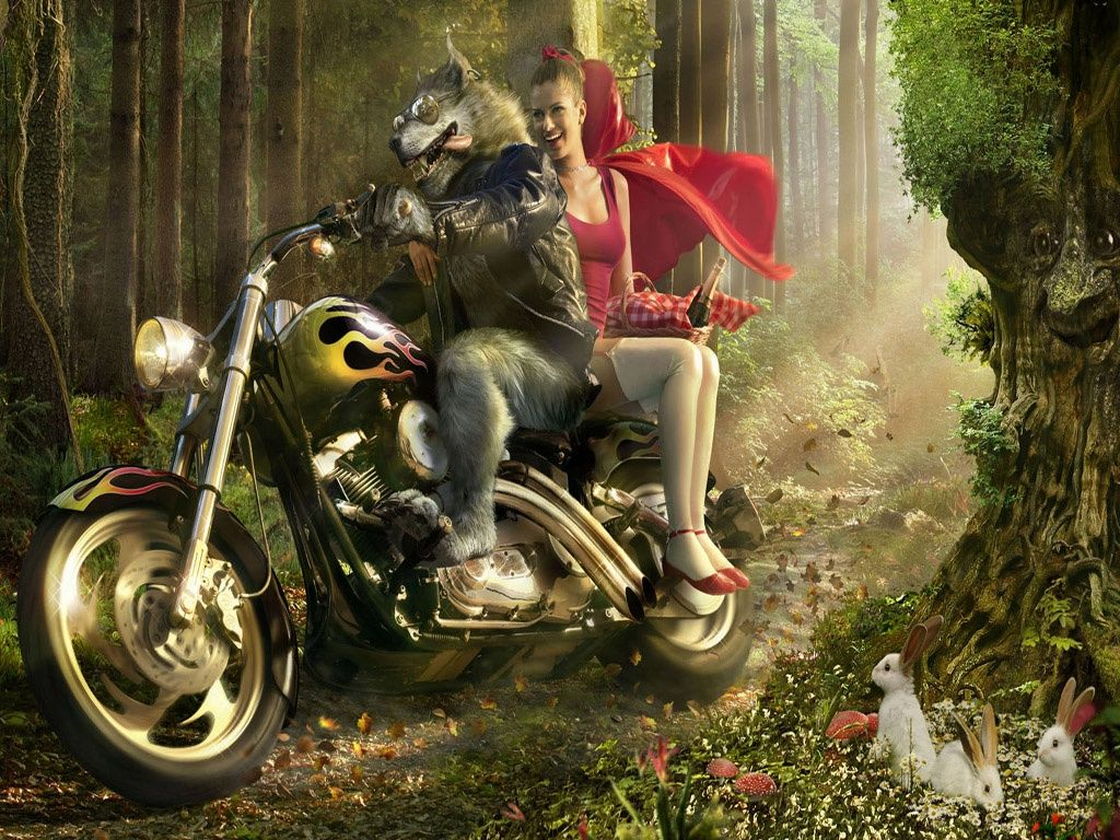 caperucita y el lobo en moto