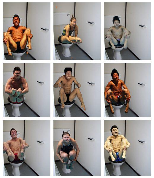 Deportistas olímpicos en el baño