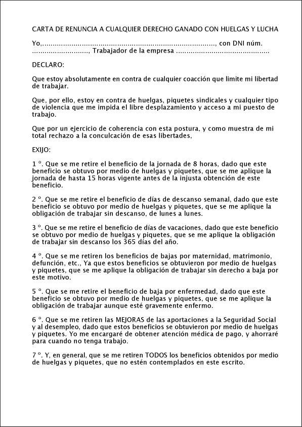 carta de renuncia a cualquier derecho ganado con huelgas y lucha