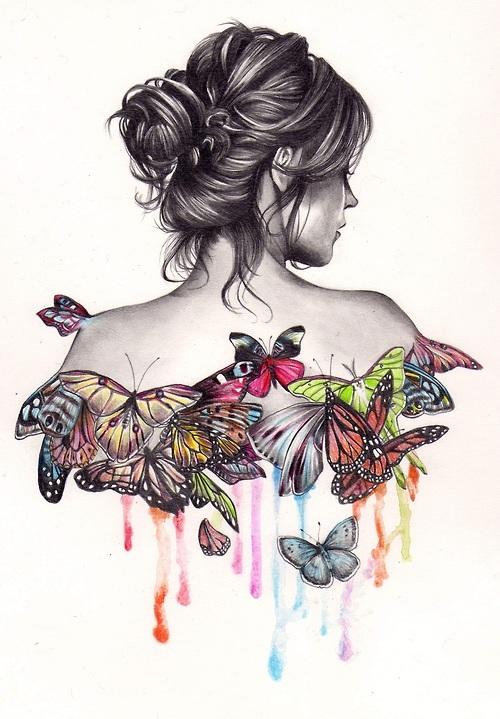 Chica y mariposas