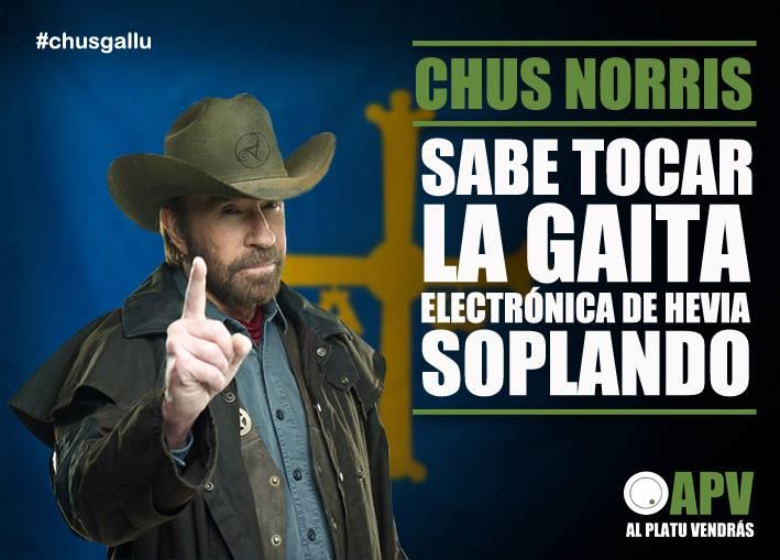 Chus Norris sabe tocar la gaita electrónica de Hevia soplando