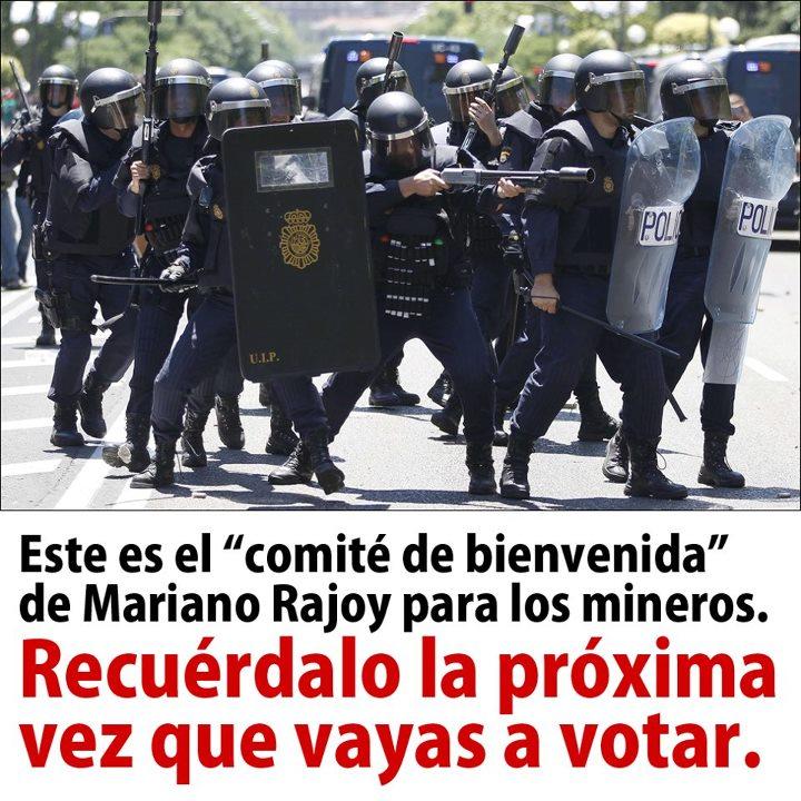 Comité de bienvenida de Rajoy para los mineros en Madrid