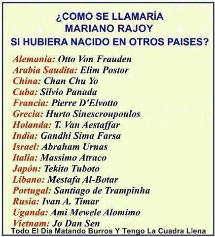 Cómo se llamaría Mariano Rajoy si hubiera nacido en otros países