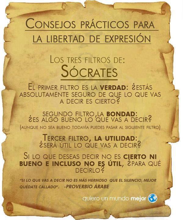 Consejos prácticos para la libertad de expresión - Los tres filtros de Sócrates