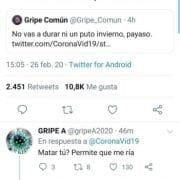 Coronavirus, gripe común y gripe A se enzarzan en una pelea en Twitter