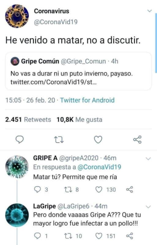 coronavirus gripe comun y gripe a se enzarzan en una pelea en twitter