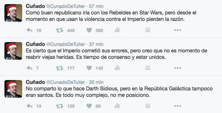 cuñado de tuiter - argumentos de la derecha sobre los republicanos en star wars