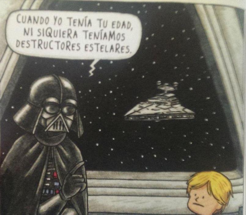Darth Vader enseñando a un niño