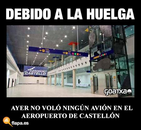 El aeropuerto de Castellón se suma a la huelga