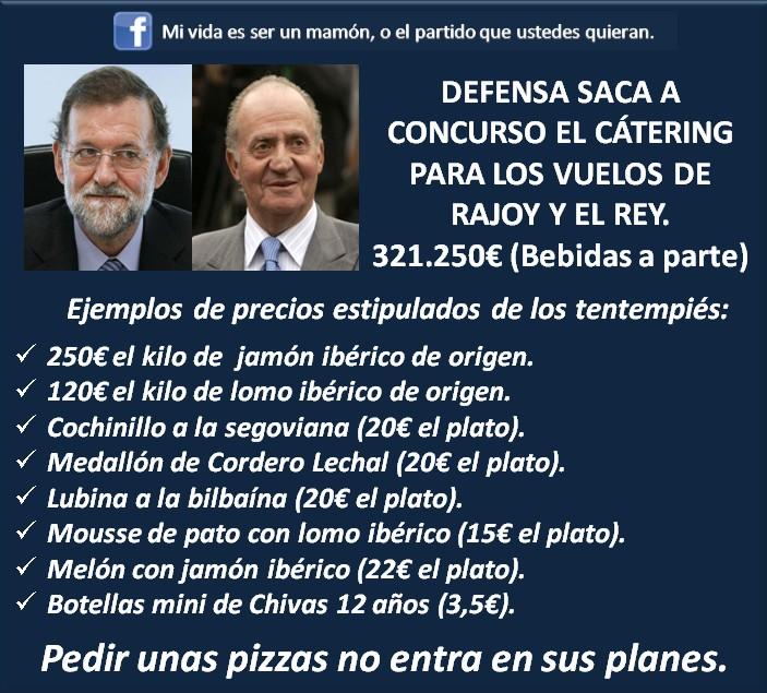 Defensa saca a concurso el catering para los vuelos de Rajoy y el rey