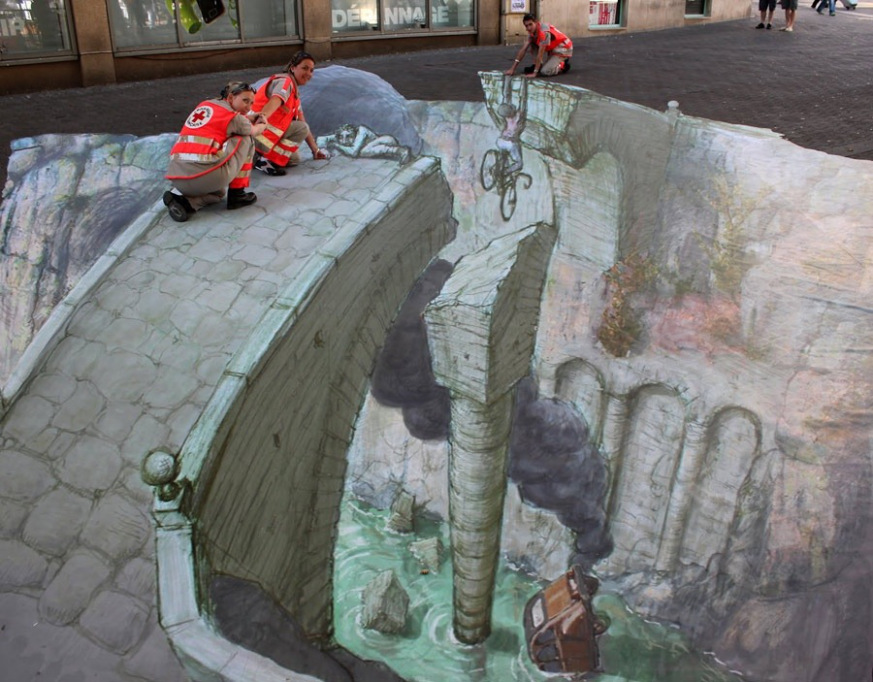 Dibujo 3D en acera - Socavón