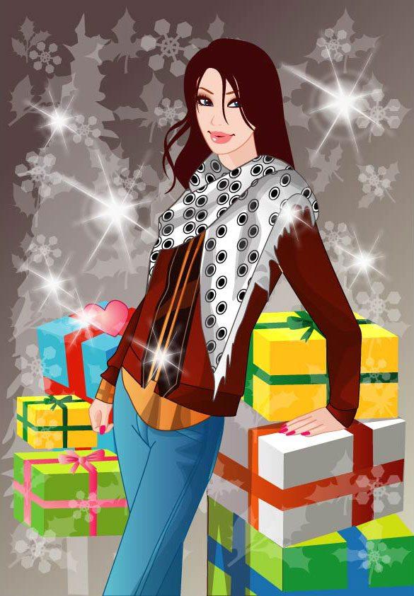dibujo chica regalos navidad