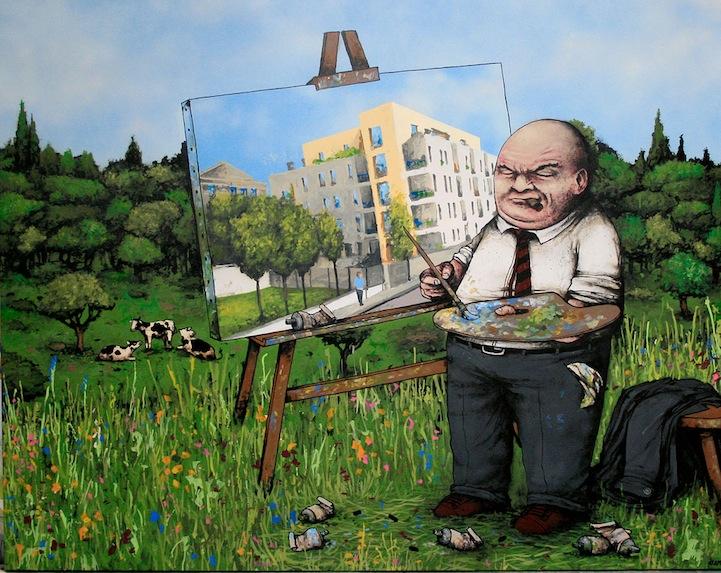 dibujo - constructor pintando cuadro - edificios en la naturaleza