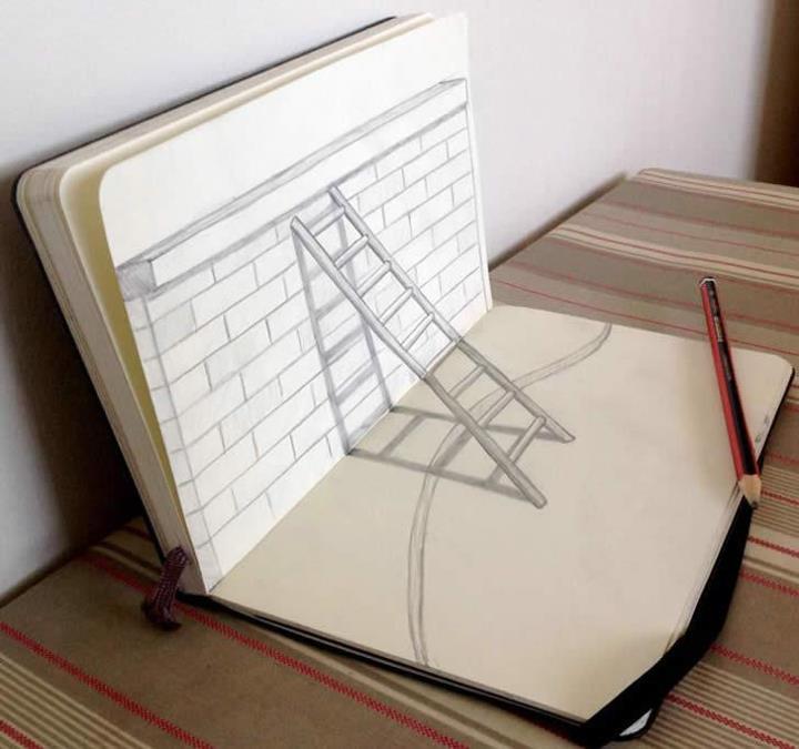 Escalera en un cuaderno