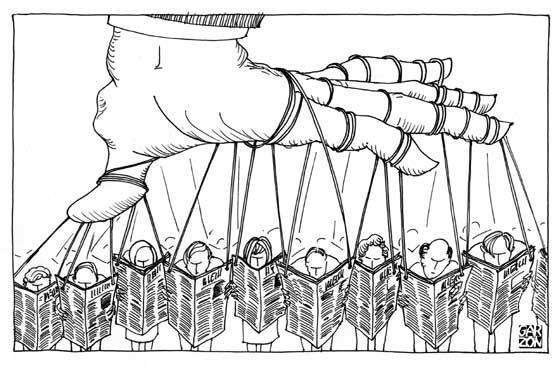 dibujo mano dirigiendo a los ciudadanos a traves de los medios