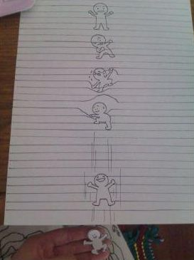 dibujo niño saliendo de la libreta