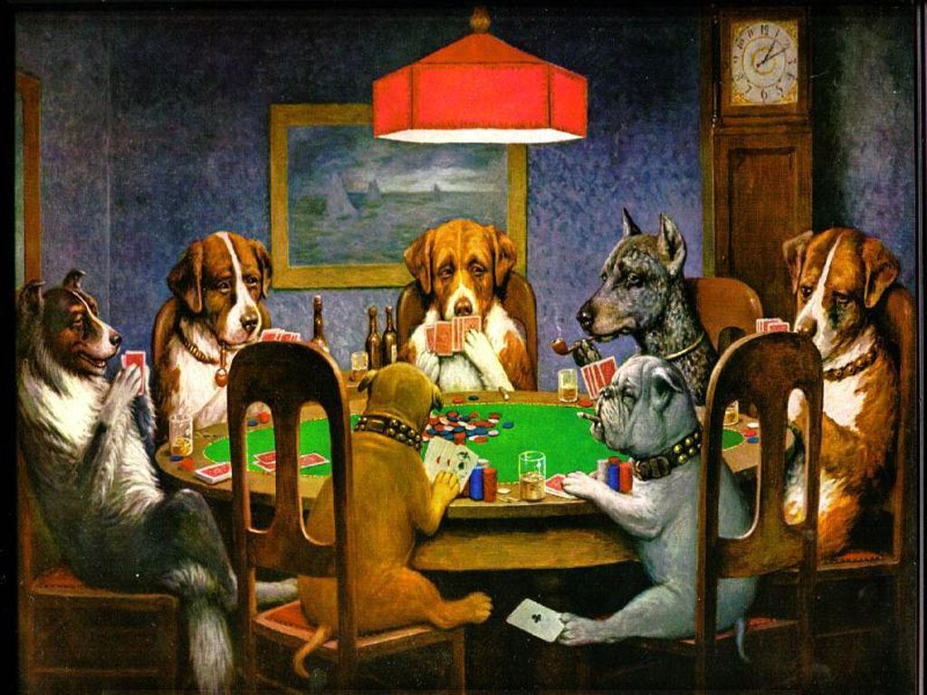 dibujo perros jugando al poker
