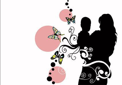 dibujo silueta madre hijo mariposas