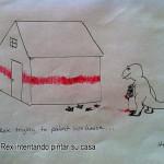 T-Rex intentando pintar su casa