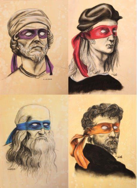 Donatello, Leonardo, Michel Angelo y Rafael