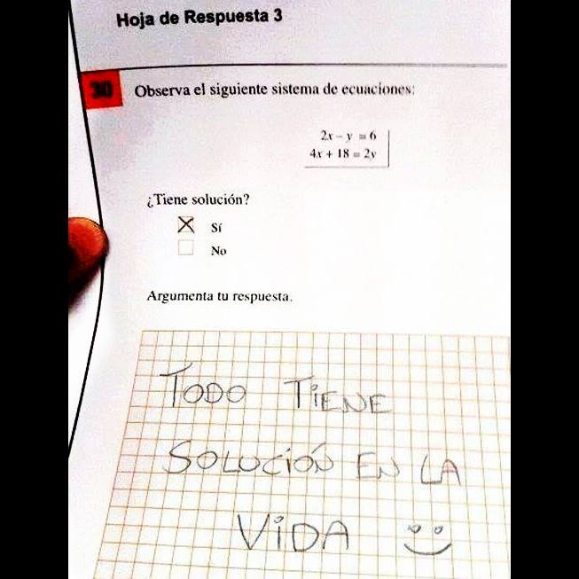 ecuacion tiene solucion si argumenta tu respuesta todo tiene solucion en la vida
