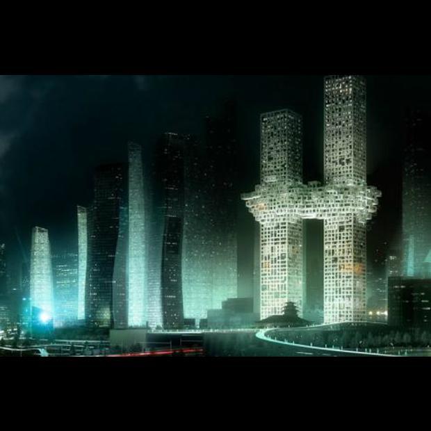 Edificio en Japón con cierto parecido a las torres gemelas el 11S