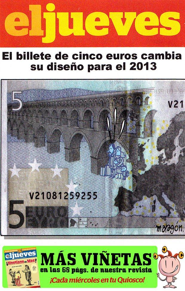 El billete de 5 euros cambia su diseño para el 2013