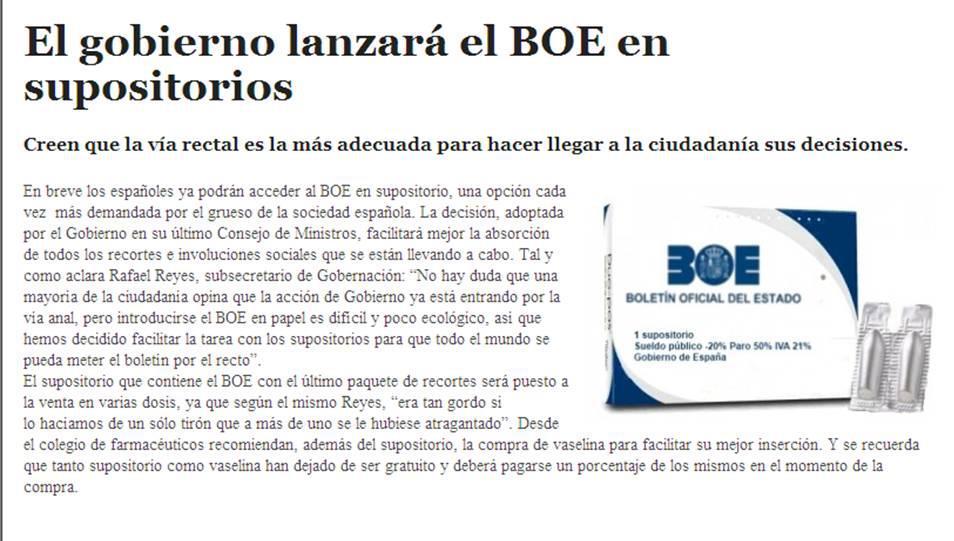 El gobierno lanzará el BOE en supositorios