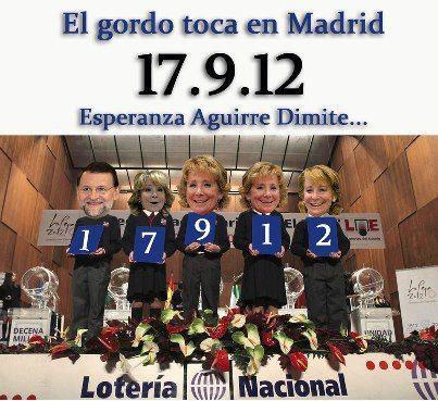 el gordo toca en Madrid - 17-9-2012 - esperanza aguirre dimite