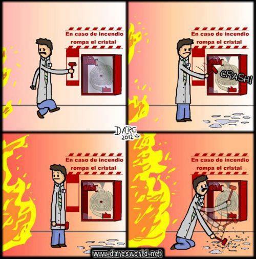 En caso de incendio rompa el cristal