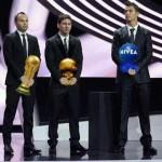 Entrega de premios – Iniesta, Leo Messi y Cristiano Ronaldo