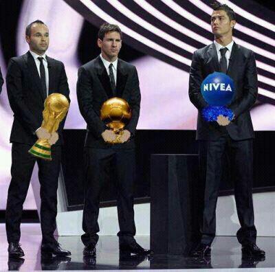 Entrega de premios - Iniesta, Leo Messi y Cristiano Ronaldo