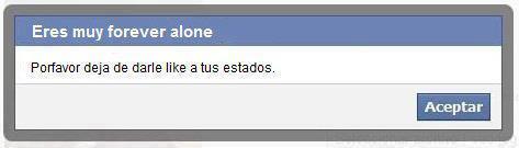 Mensaje de Facebook a Forever Alone