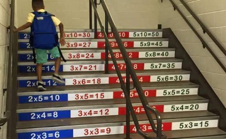 Escaleras para aprender la tabla de multiplicar