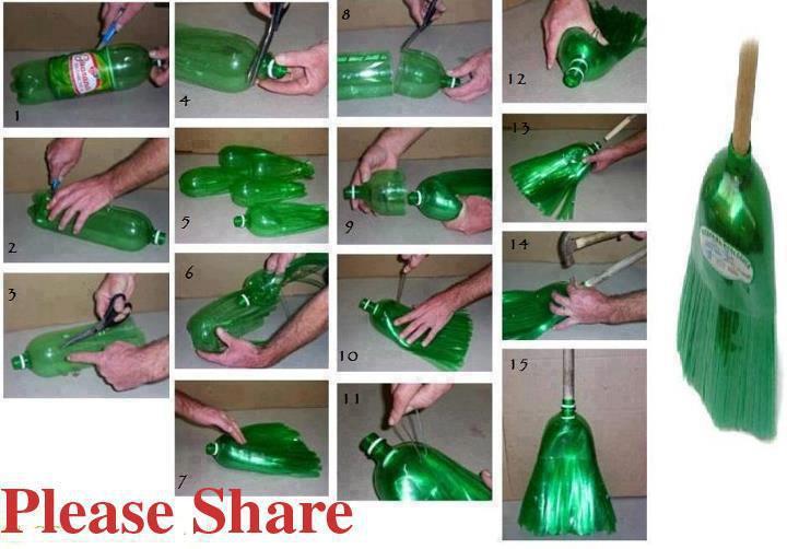 Escoba a partir de una botella de plástico